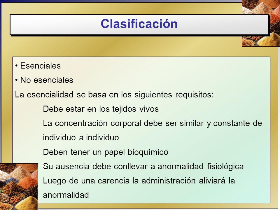 Clasificación Esenciales No esenciales