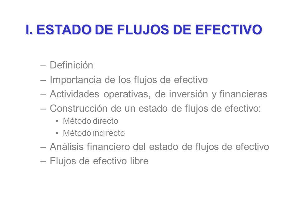I. ESTADO DE FLUJOS DE EFECTIVO