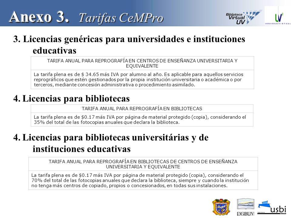 TARIFA ANUAL PARA REPROGRAFÍA EN BIBLIOTECAS