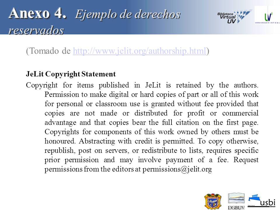 Anexo 4. Ejemplo de derechos reservados