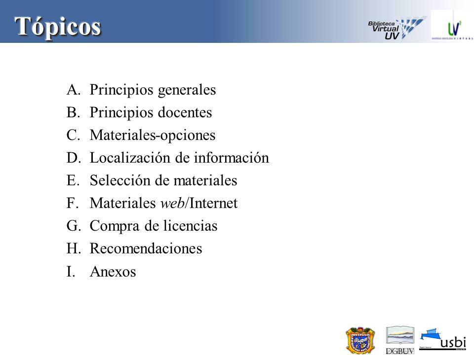 Tópicos Principios generales Principios docentes Materiales-opciones