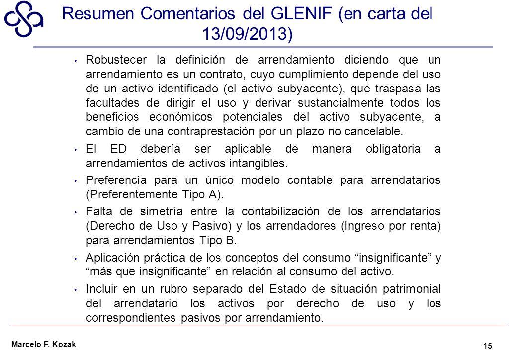Resumen Comentarios del GLENIF (en carta del 13/09/2013)