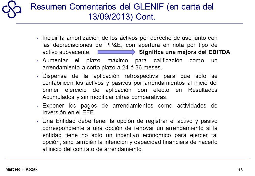 Resumen Comentarios del GLENIF (en carta del 13/09/2013) Cont.