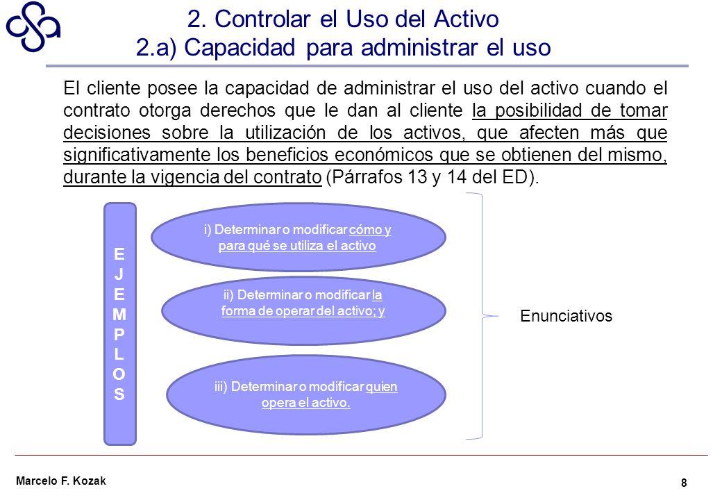 2. Controlar el Uso del Activo 2.a) Capacidad para administrar el uso