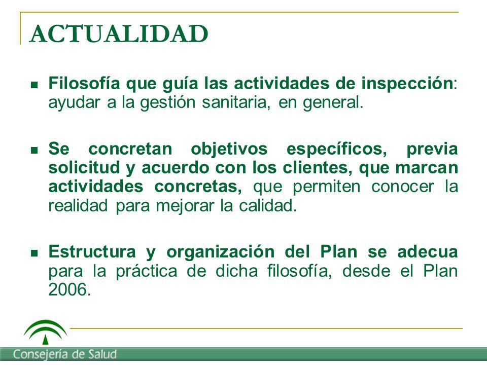ACTUALIDAD Filosofía que guía las actividades de inspección: ayudar a la gestión sanitaria, en general.