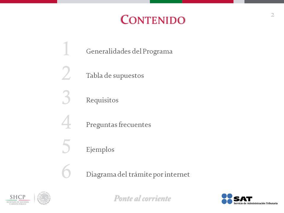 1 2 3 4 5 6 Contenido Generalidades del Programa Tabla de supuestos