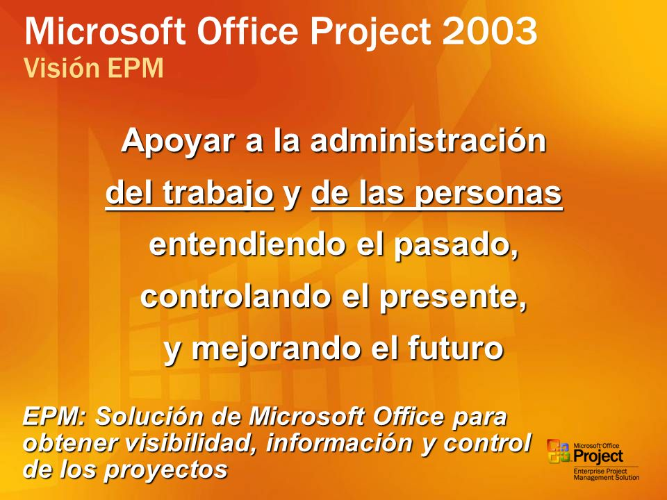 Microsoft Office Project 2003 Visión EPM