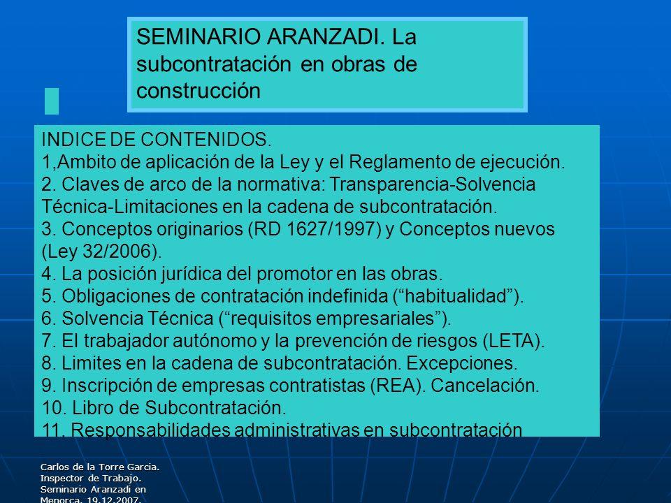 SEMINARIO ARANZADI. La subcontratación en obras de construcción