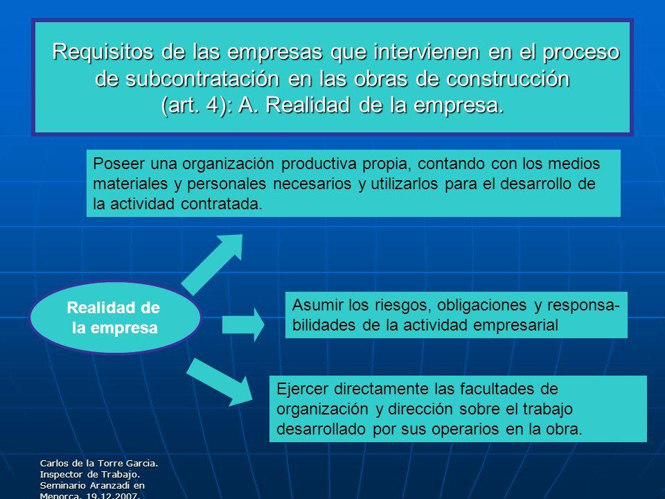 Requisitos de las empresas que intervienen en el proceso de subcontratación en las obras de construcción (art. 4): A. Realidad de la empresa.