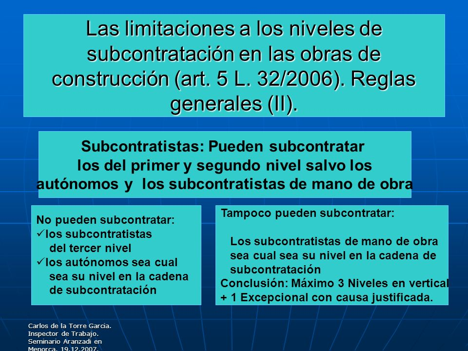 Las limitaciones a los niveles de subcontratación en las obras de construcción (art. 5 L. 32/2006). Reglas generales (II).