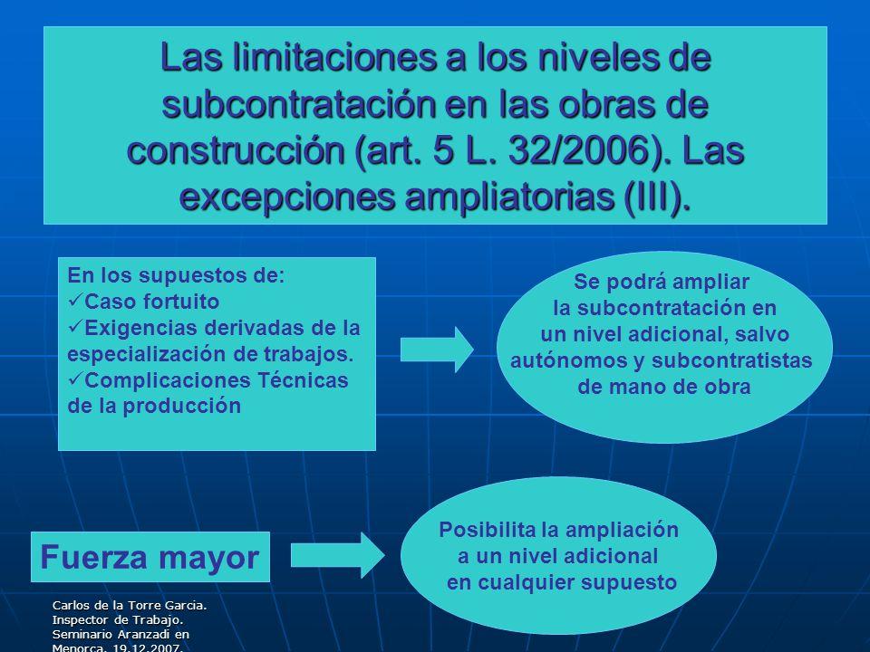 Las limitaciones a los niveles de subcontratación en las obras de construcción (art. 5 L. 32/2006). Las excepciones ampliatorias (III).