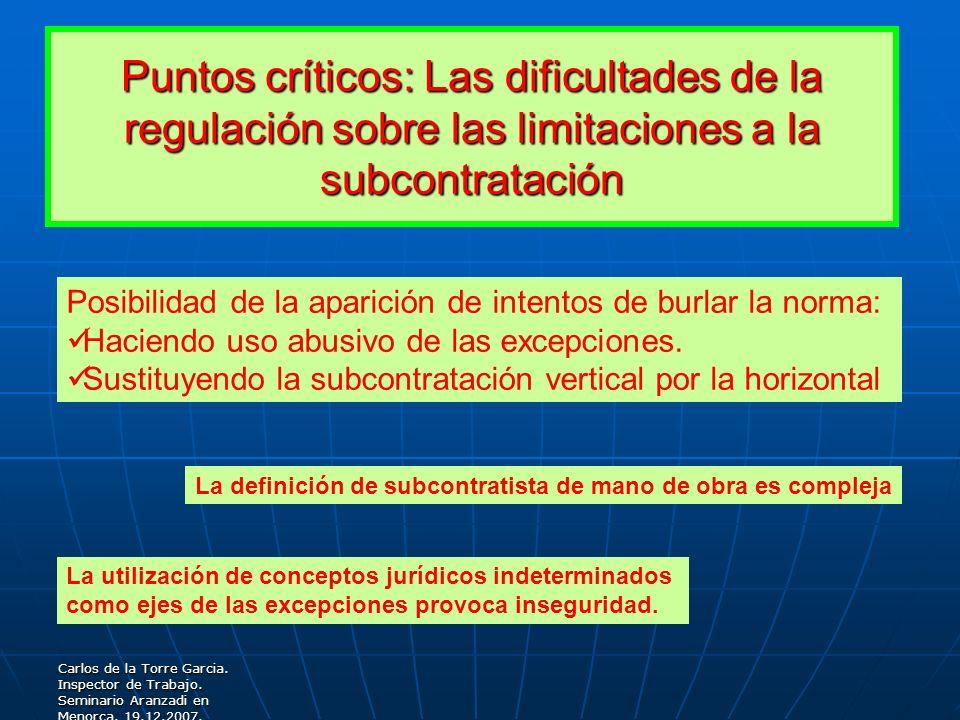 Puntos críticos: Las dificultades de la regulación sobre las limitaciones a la subcontratación