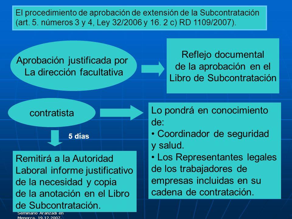 Libro de Subcontratación Aprobación justificada por