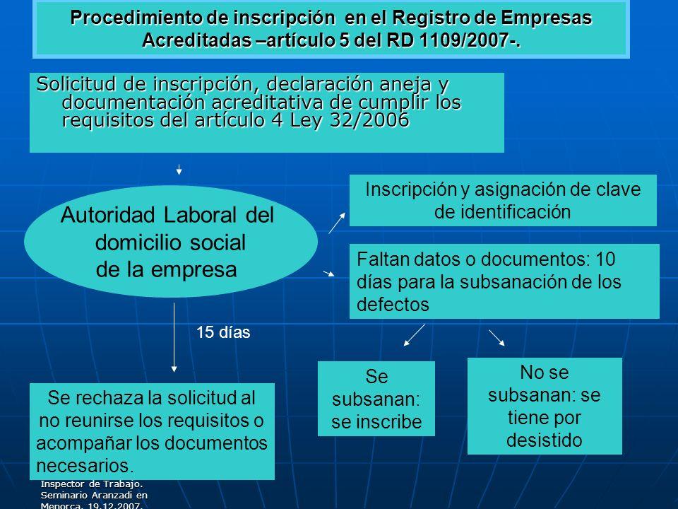 Autoridad Laboral del domicilio social de la empresa