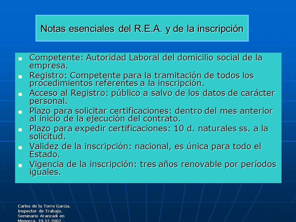 Notas esenciales del R.E.A. y de la inscripción