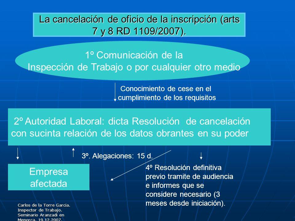 La cancelación de oficio de la inscripción (arts 7 y 8 RD 1109/2007).