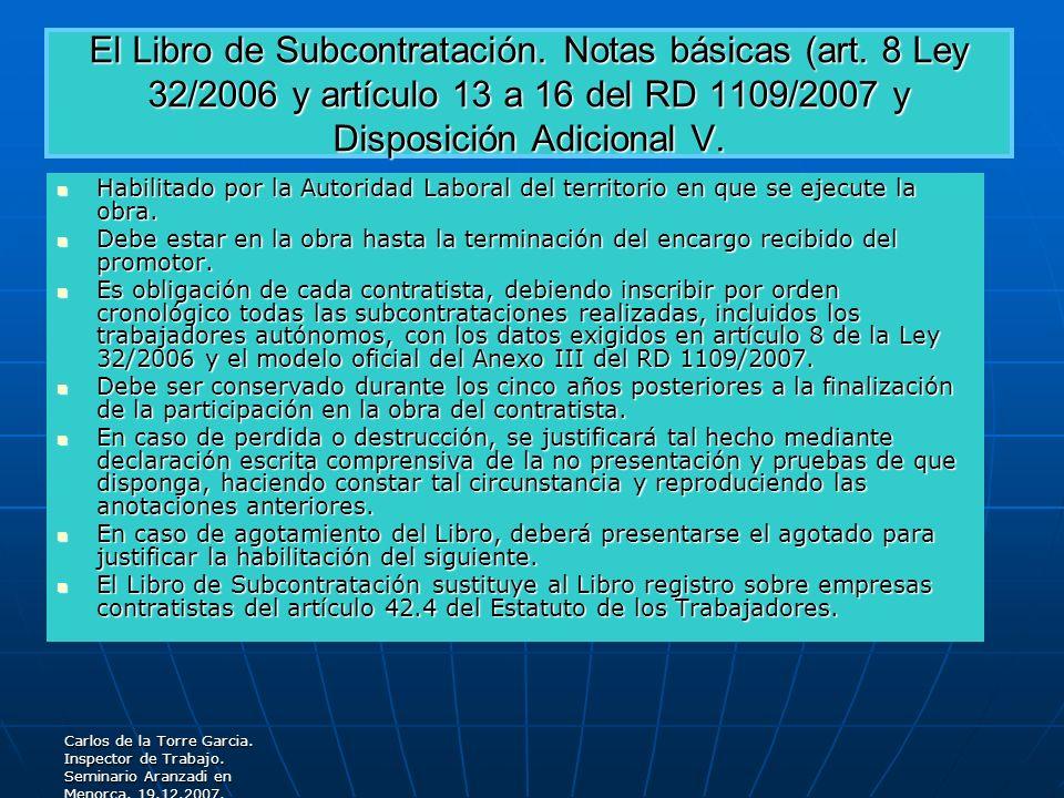 El Libro de Subcontratación. Notas básicas (art