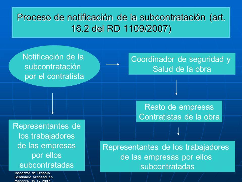 Proceso de notificación de la subcontratación (art. 16