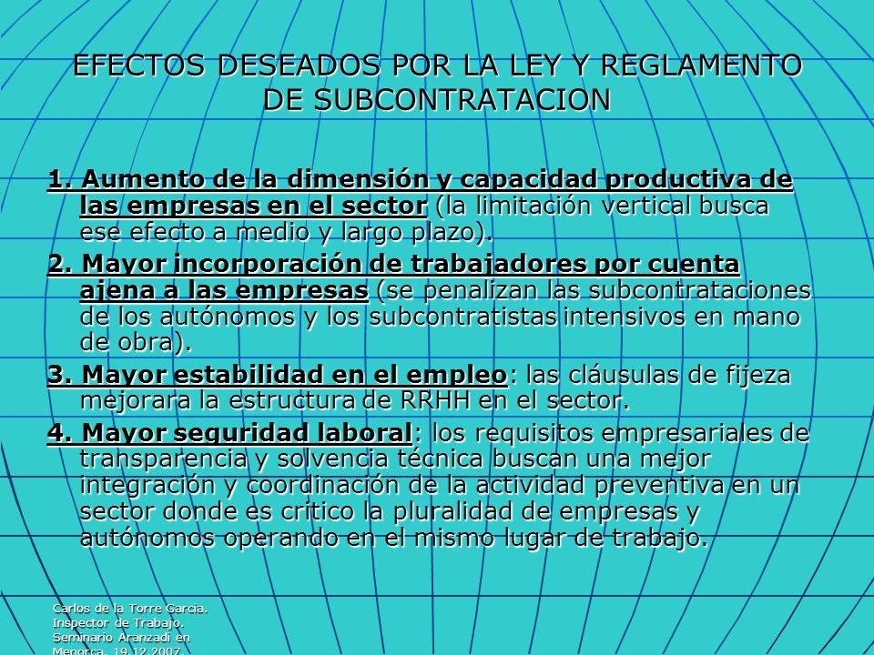 EFECTOS DESEADOS POR LA LEY Y REGLAMENTO DE SUBCONTRATACION