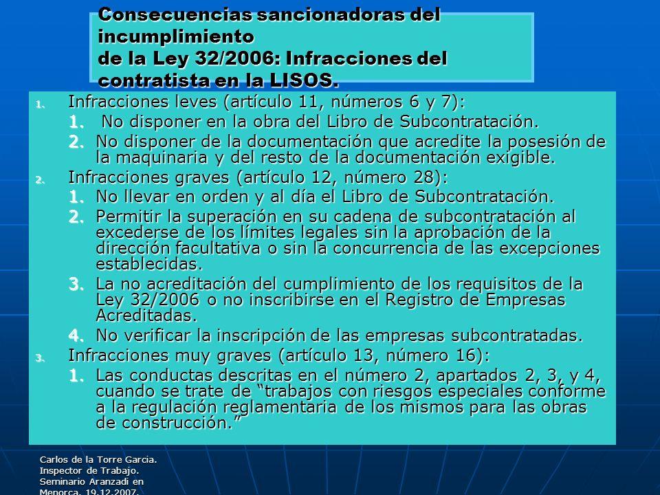 Consecuencias sancionadoras del incumplimiento de la Ley 32/2006: Infracciones del contratista en la LISOS.