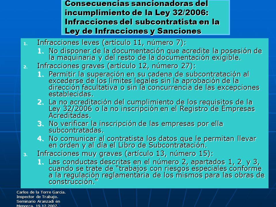 Consecuencias sancionadoras del incumplimiento de la Ley 32/2006: Infracciones del subcontratista en la Ley de Infracciones y Sanciones