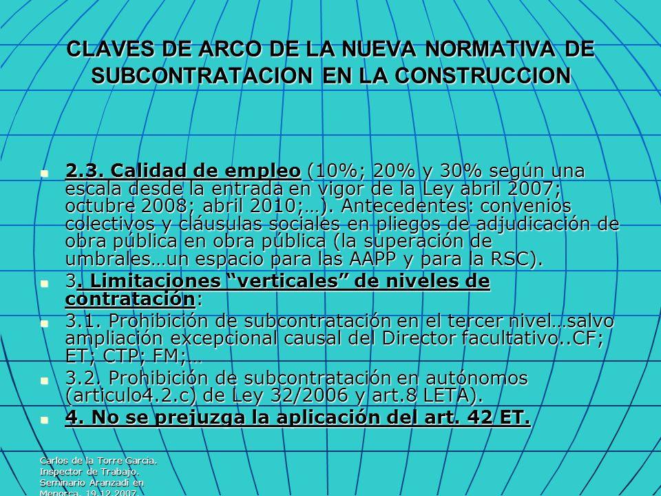 CLAVES DE ARCO DE LA NUEVA NORMATIVA DE SUBCONTRATACION EN LA CONSTRUCCION