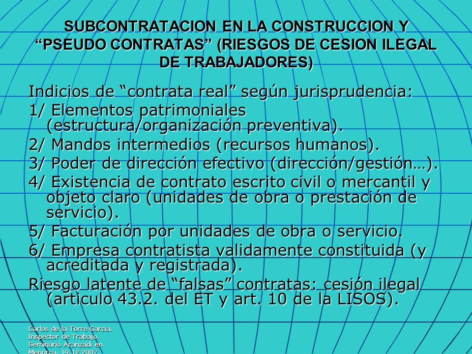 Indicios de contrata real según jurisprudencia: