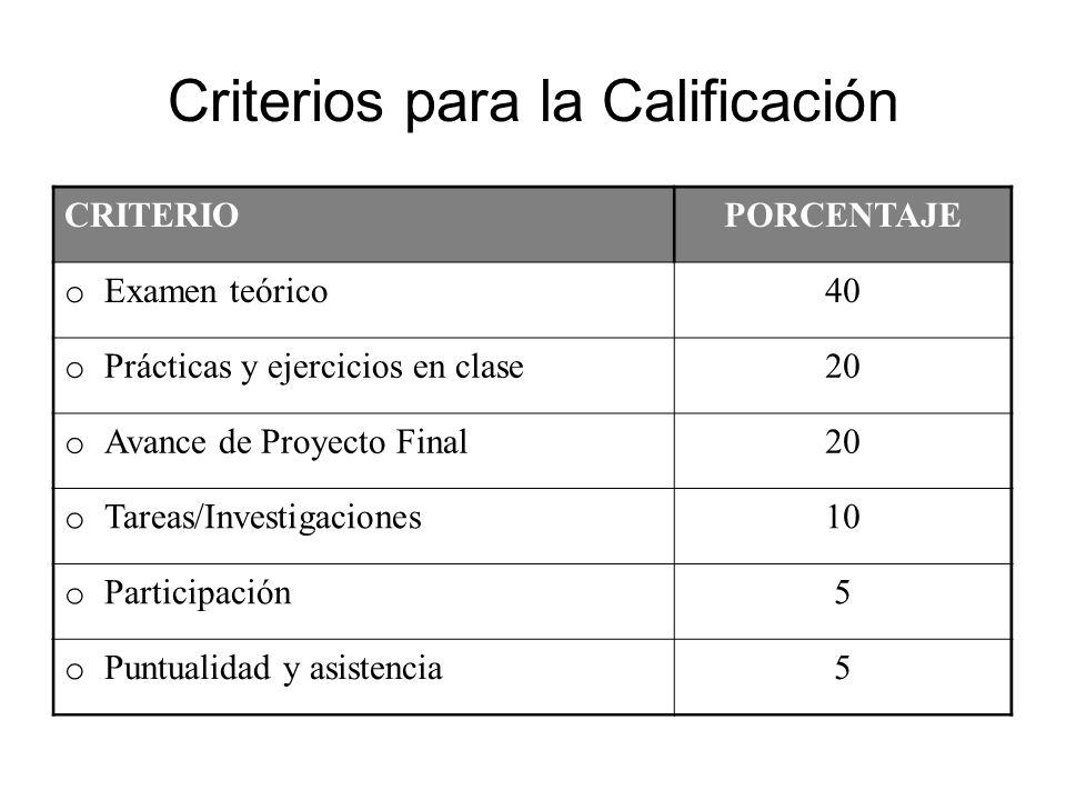 Criterios para la Calificación