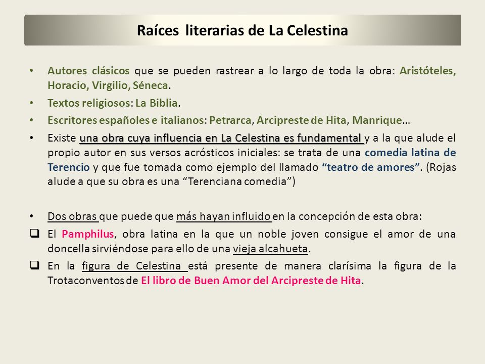 Raíces literarias de La Celestina