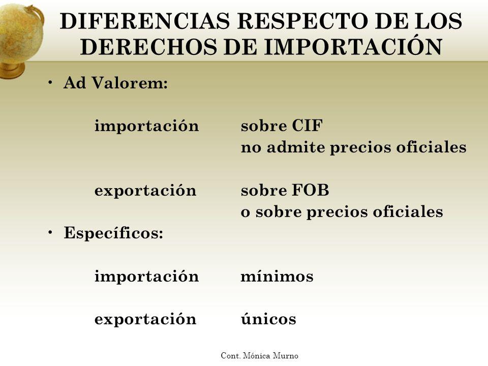 DIFERENCIAS RESPECTO DE LOS DERECHOS DE IMPORTACIÓN