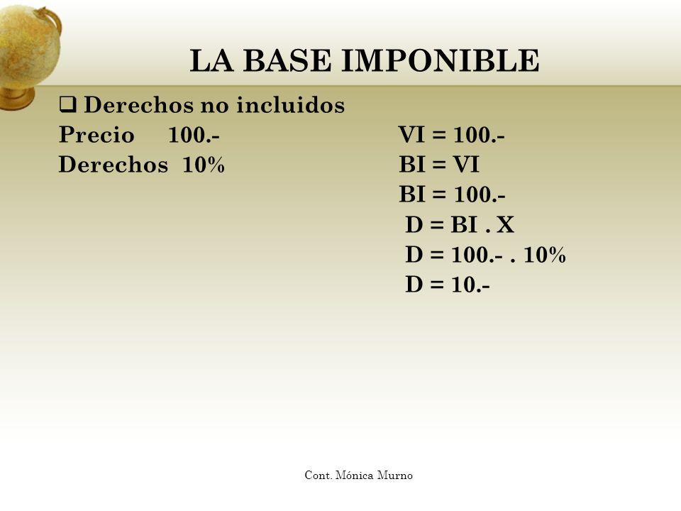 LA BASE IMPONIBLE Derechos no incluidos Precio 100.- VI = 100.-