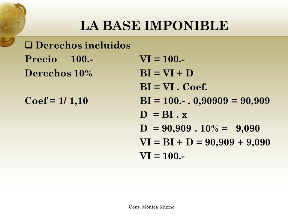 LA BASE IMPONIBLE Derechos incluidos Precio 100.- VI = 100.-