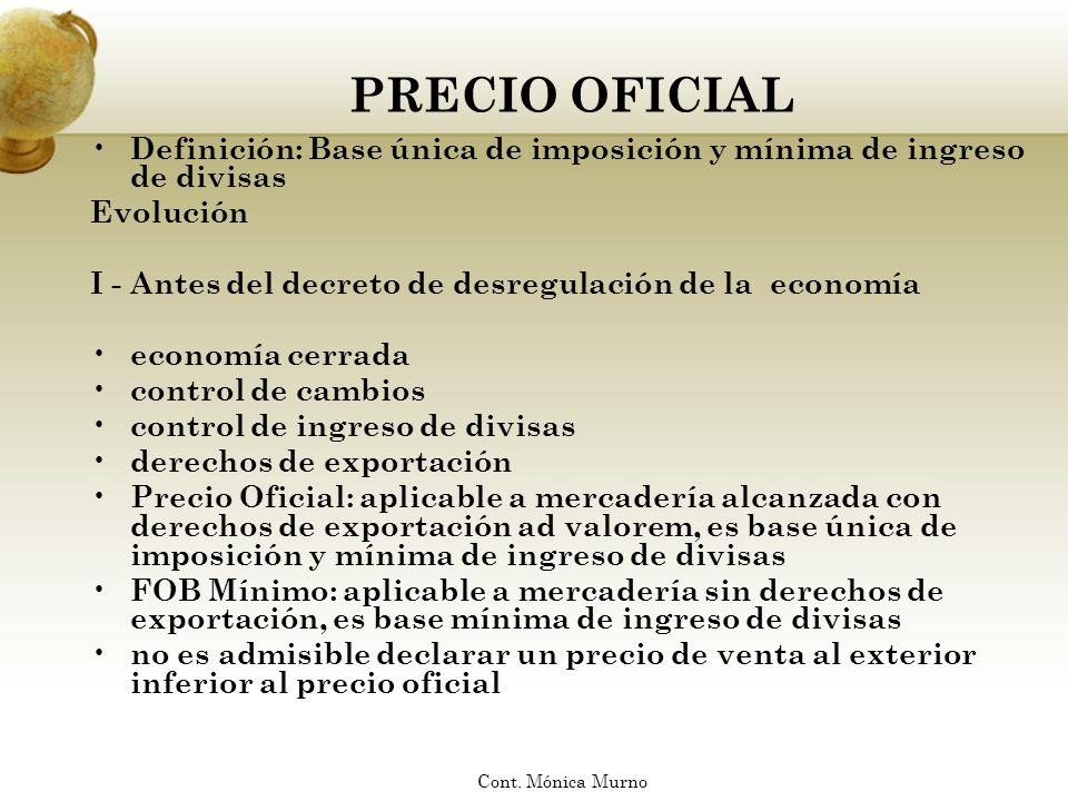 PRECIO OFICIAL Definición: Base única de imposición y mínima de ingreso de divisas. Evolución.