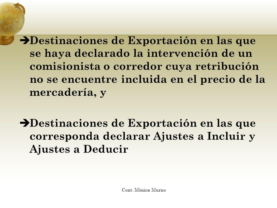 Destinaciones de Exportación en las que se haya declarado la intervención de un comisionista o corredor cuya retribución no se encuentre incluida en el precio de la mercadería, y