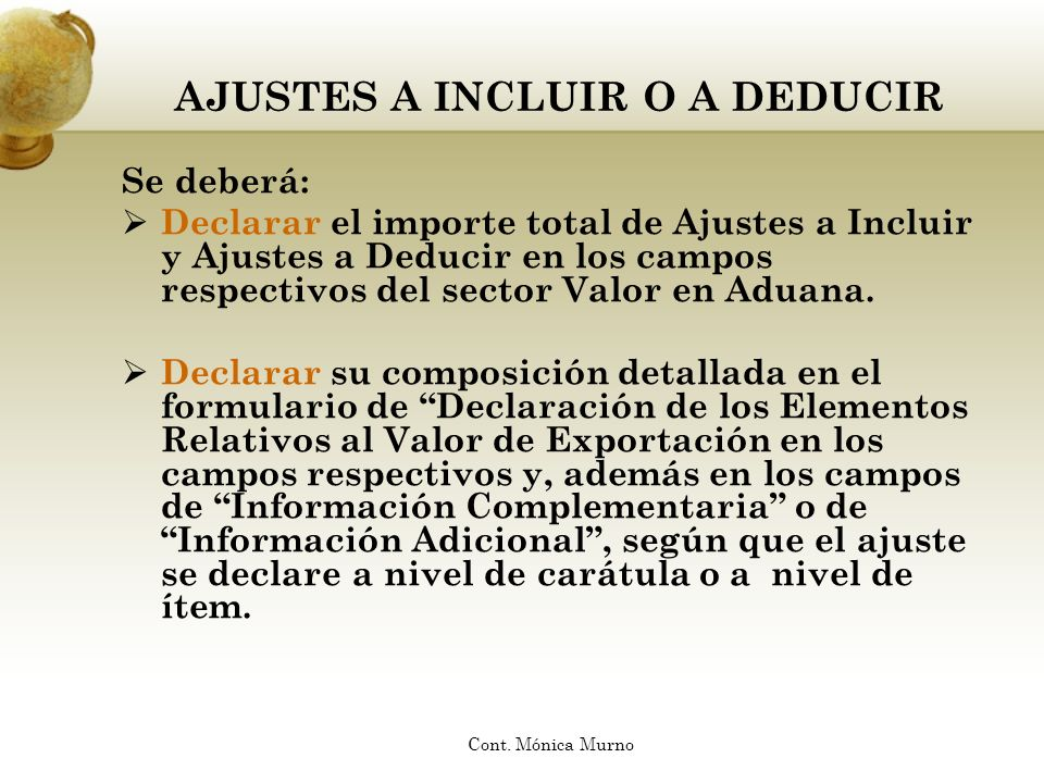 AJUSTES A INCLUIR O A DEDUCIR