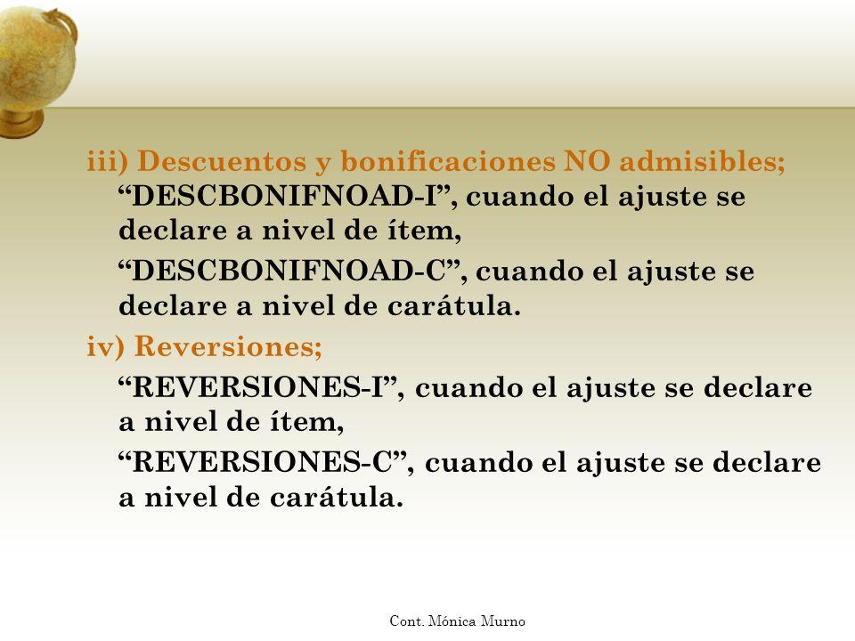 DESCBONIFNOAD-C , cuando el ajuste se declare a nivel de carátula.
