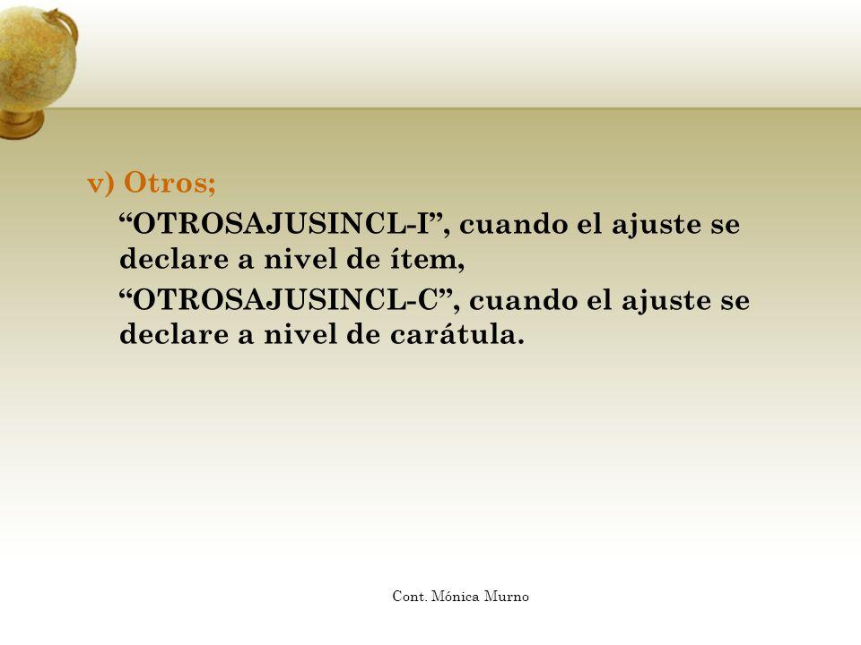 OTROSAJUSINCL-I , cuando el ajuste se declare a nivel de ítem,