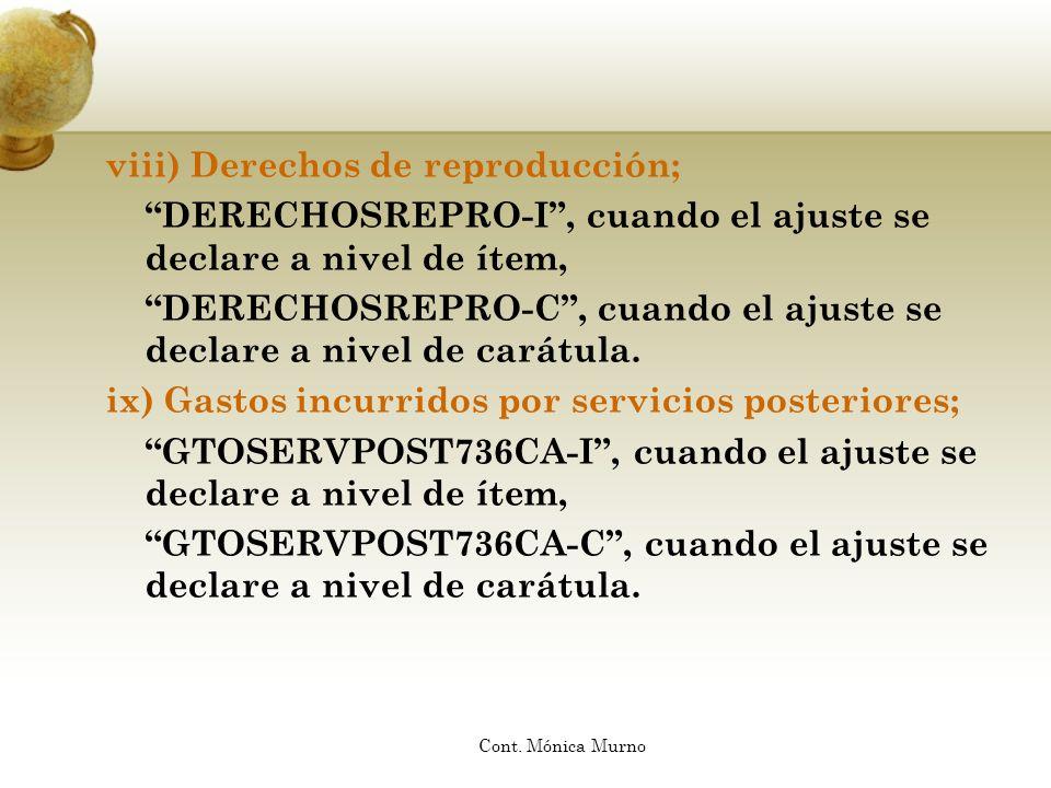 viii) Derechos de reproducción;
