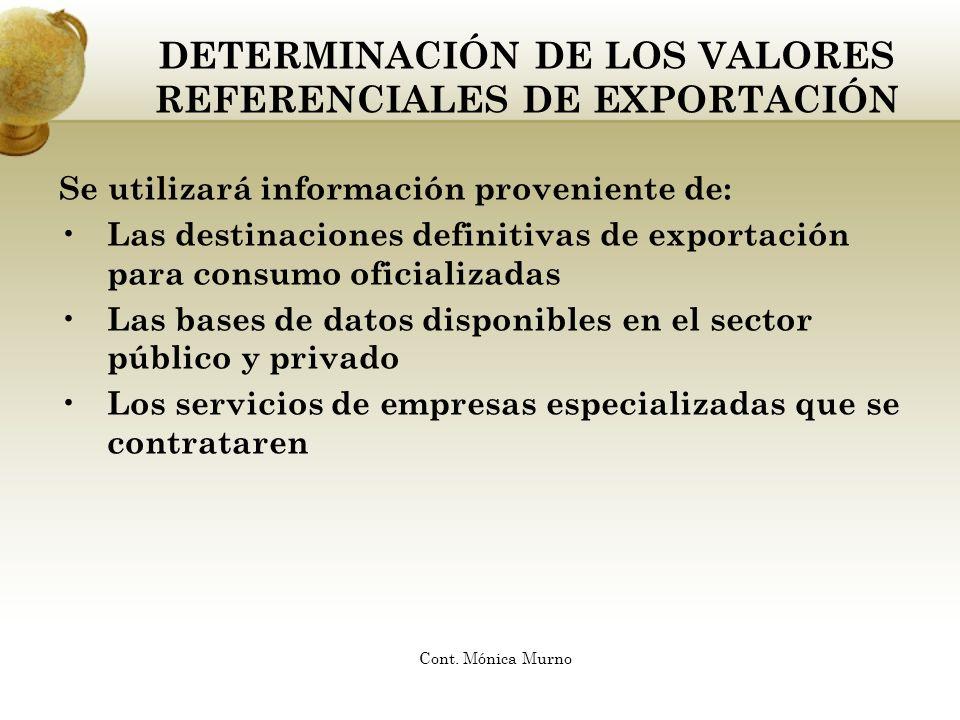 DETERMINACIÓN DE LOS VALORES REFERENCIALES DE EXPORTACIÓN