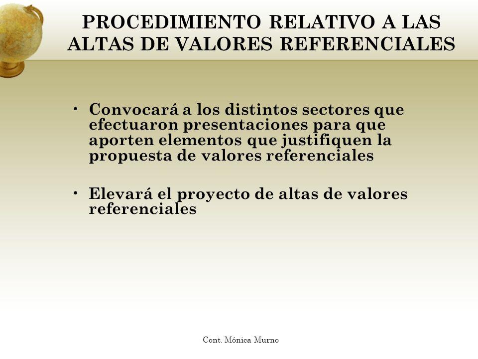 PROCEDIMIENTO RELATIVO A LAS ALTAS DE VALORES REFERENCIALES