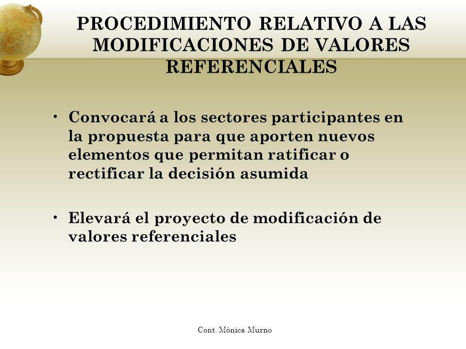 PROCEDIMIENTO RELATIVO A LAS MODIFICACIONES DE VALORES REFERENCIALES
