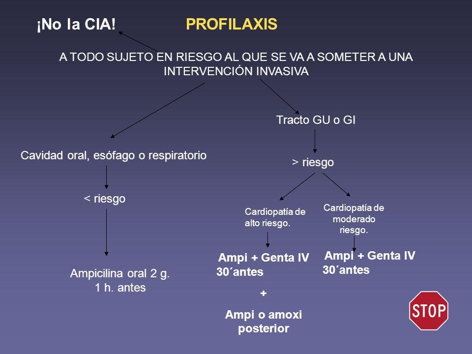 ¡No la CIA! PROFILAXIS. A TODO SUJETO EN RIESGO AL QUE SE VA A SOMETER A UNA INTERVENCIÓN INVASIVA.