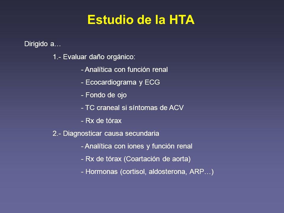 Estudio de la HTA Dirigido a… 1.- Evaluar daño orgánico: