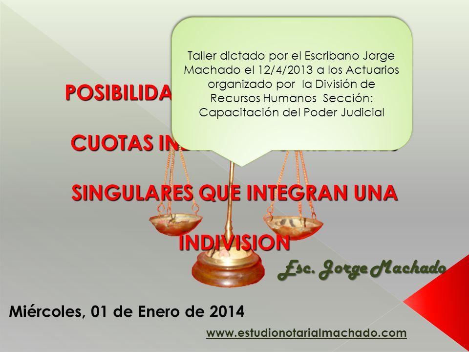POSIBILIDAD DE ENAJENACION DE CUOTAS INDIVISAS SOBRE BIENES SINGULARES QUE INTEGRAN UNA INDIVISION