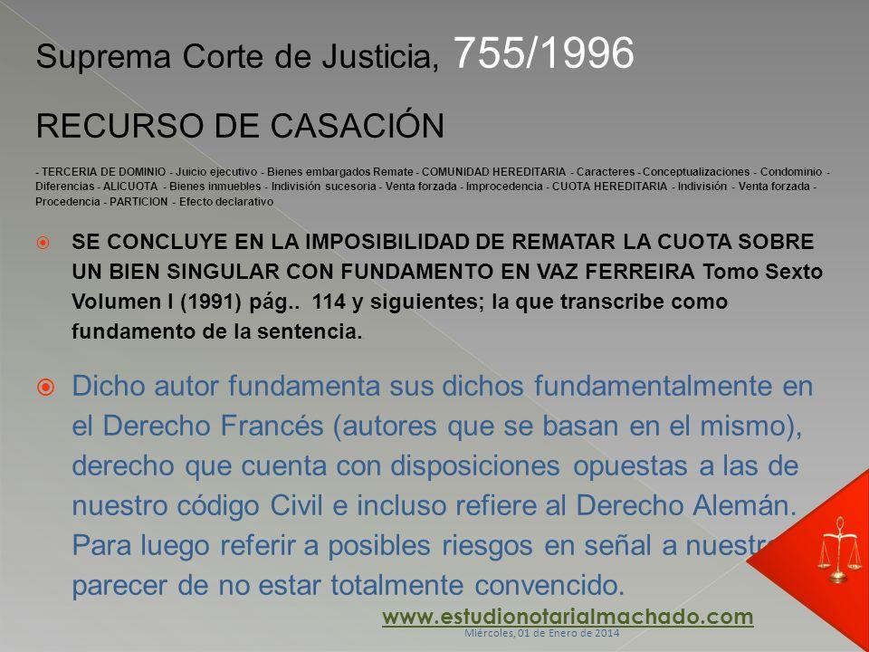 Suprema Corte de Justicia, 755/1996 RECURSO DE CASACIÓN