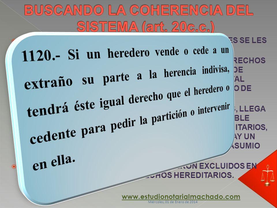BUSCANDO LA COHERENCIA DEL SISTEMA (art. 20c.c.)
