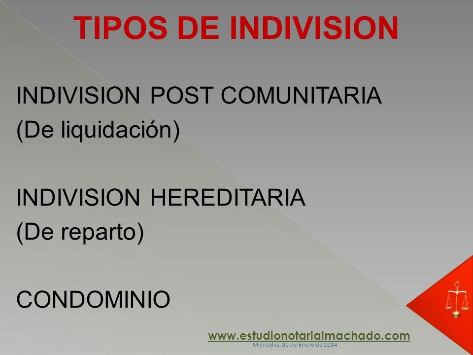 TIPOS DE INDIVISION INDIVISION POST COMUNITARIA (De liquidación)