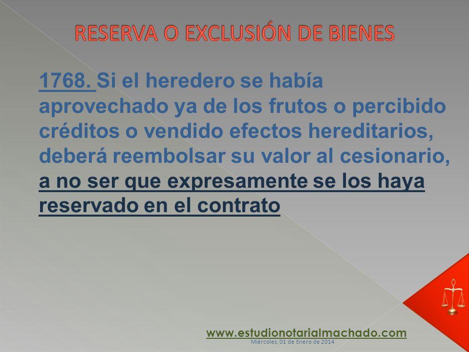 RESERVA O EXCLUSIÓN DE BIENES