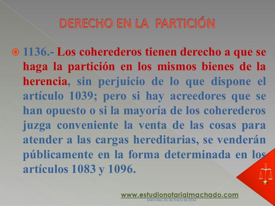DERECHO EN LA PARTICIÓN
