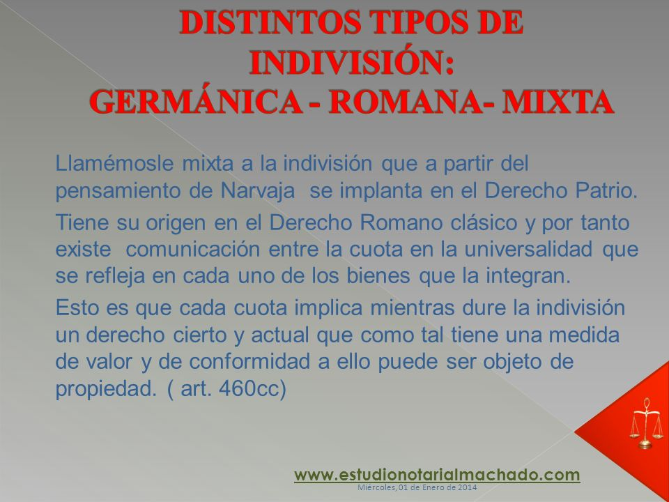 DISTINTOS TIPOS DE INDIVISIÓN: GERMÁNICA - ROMANA- MIXTA